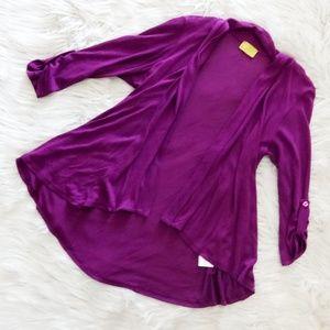 Mod.lusive by Bobeau Purple Open Front Cardigan